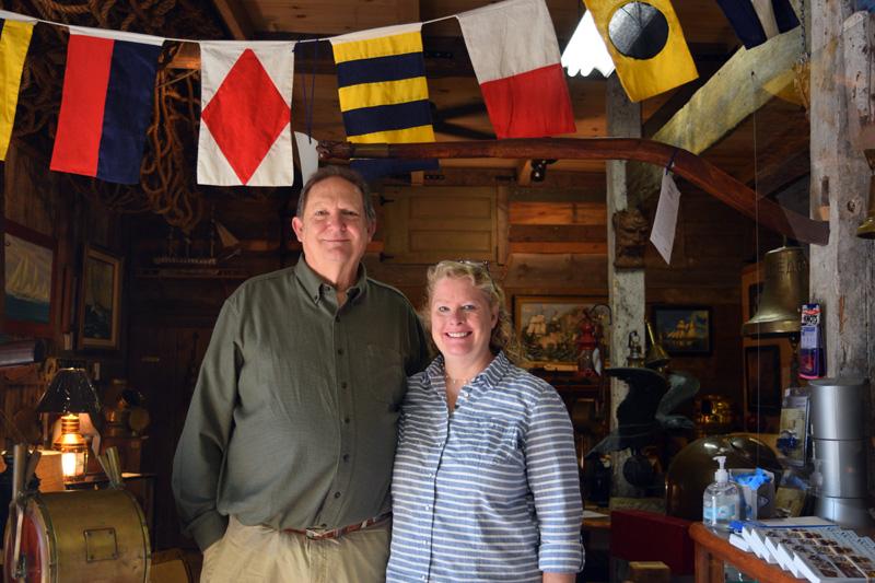Joe and Alison Elder own Skipjack Marine Gallery in Round Pond. (Hailey Bryant photo)