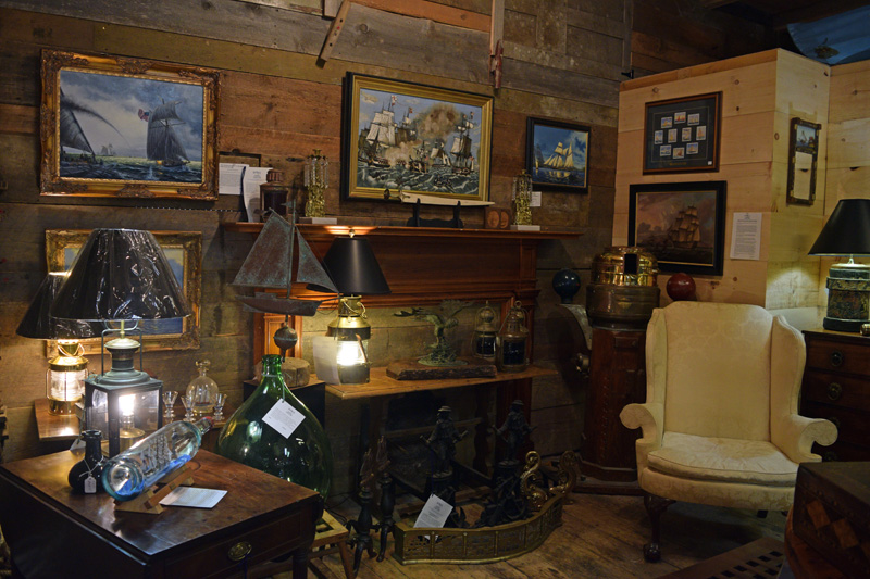 Skipjack Marine Gallery's Round Pond showroom features nautical antiques, marine art, and gifts. (Hailey Bryant photo)