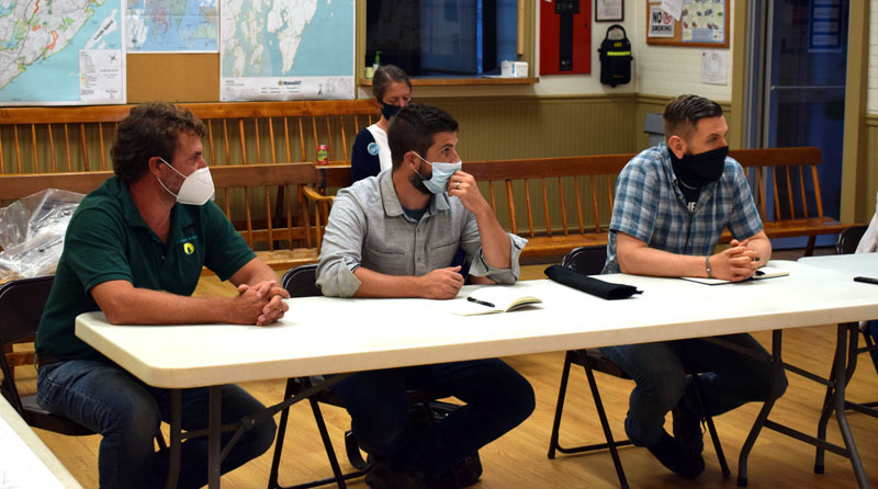 From left: Nathaniel Curtis, of Midcoast Solar; and Chris Byers and Dale Knapp, both of Boyle Associates, meet with the Bristol Planning Board on Thursday, Aug. 20 about Midcoast Solar's plans to install a community solar farm. (Evan Houk photo)