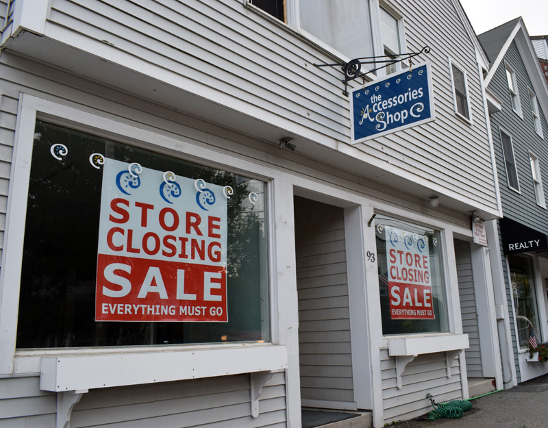 The Accessories Shop, on Main Street in Damariscotta, closed Tuesday, Sept. 8 after about 15 years in town. The owner cited a sharp drop in business due to COVID-19 and resulting restrictions. (Evan Houk photo)