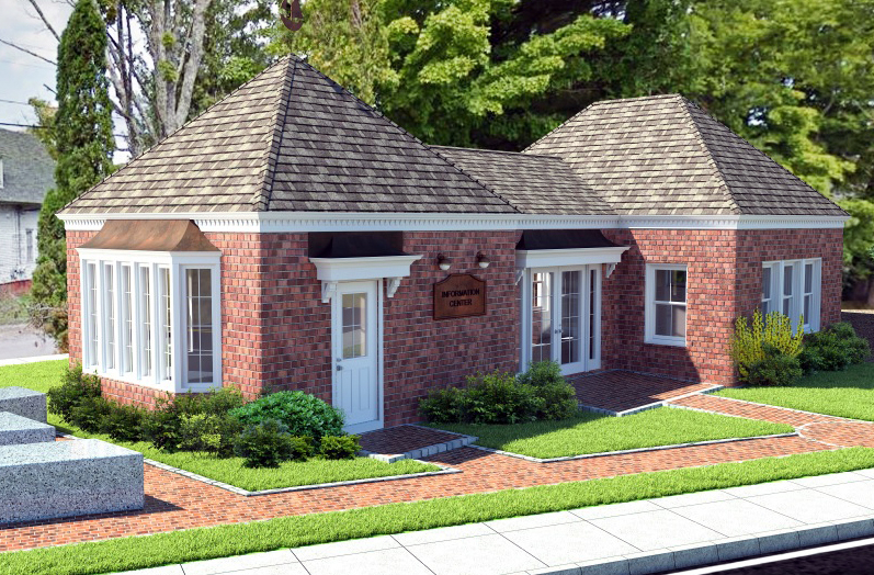 A rendering of the Damariscotta Region Information Bureau building after a planned expansion and renovation. The Damariscotta Region Chamber of Commerce hopes to acquire the building and transform it into its permanent headquarters. (Image courtesy John Roberts)