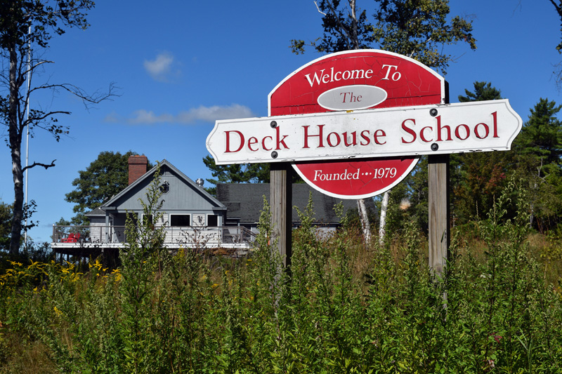 The new owners of the former Deck House School plan to keep the sign. The school's Edgecomb property sold in August and will become a home. (Hailey Bryant photo)