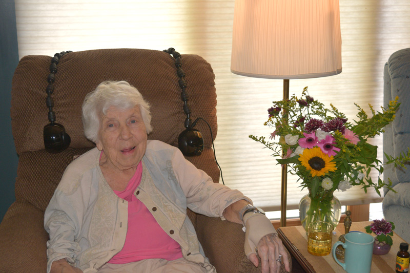 Longtime Edgecomb resident Roslyn Strong will celebrate her 100th birthday Saturday, Sept. 12. (Hailey Bryant photo)