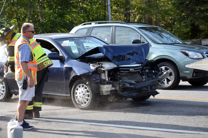 The driver of a blue Hyundai sedan faces a felony charge of operating after suspension after causing a three-car crash on Route 1 in Waldoboro, Thursday, Sept. 10. (Alexander Violo photo)