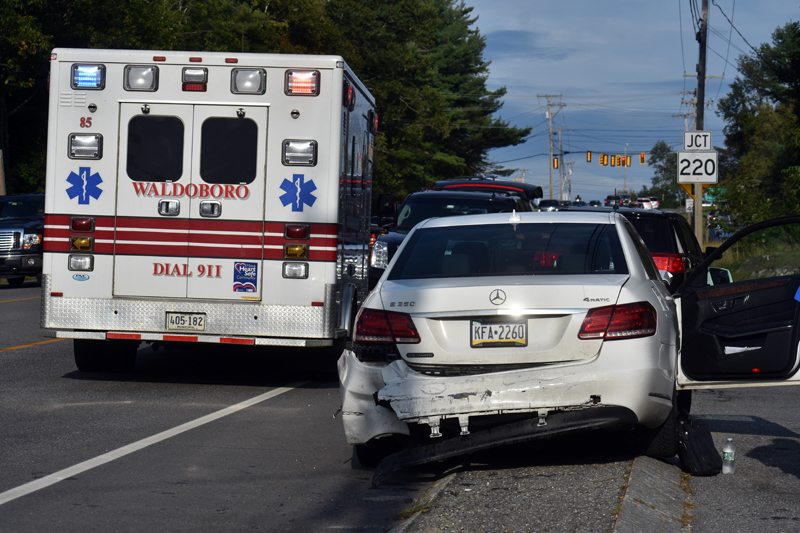Damage to a Mercedes-Benz E 350 sedan, the middle vehicle in a three-vehicle collision on Route 1 in Waldoboro, Thursday, Sept. 10. (Alexander Violo photo)
