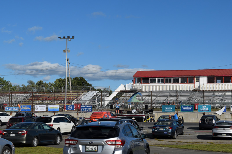 "State Rep. Allison Hepler, of House District 53, speaks during the ""Drive-in for Democracy"" rally at Wiscasset Speedway on Sunday, Aug. 30. (Hailey Bryant photo)"