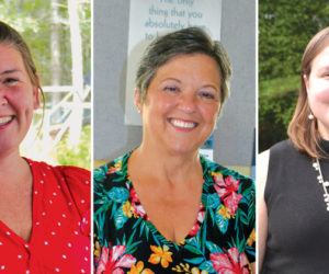 From left: Kimberly Andersson, Pamela Dunning, and Sarah Whitfield won election to the Wiscasset Board of Selectmen in a six-way race for three seats. (Charlotte Boynton photos)