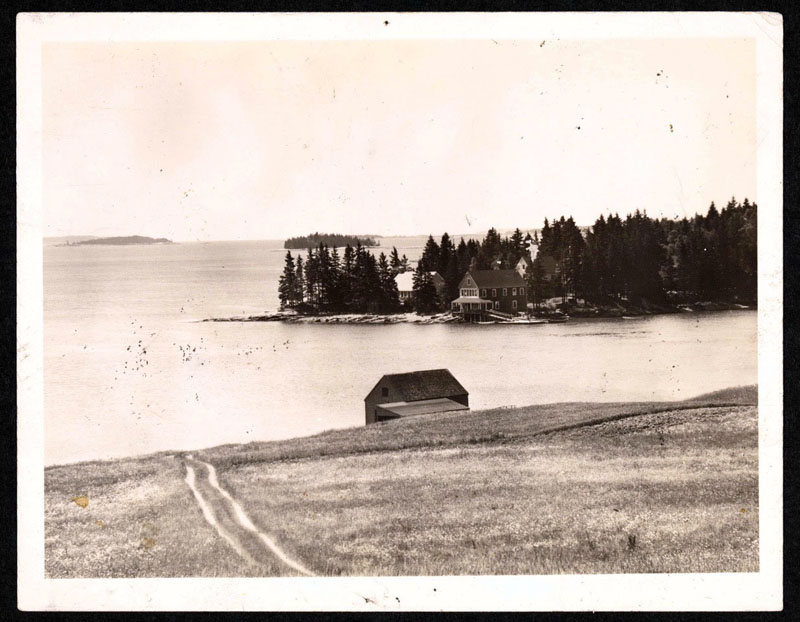 A view of Hog Island Audubon Camp, from the mainland in Bremen, circa 1930s.