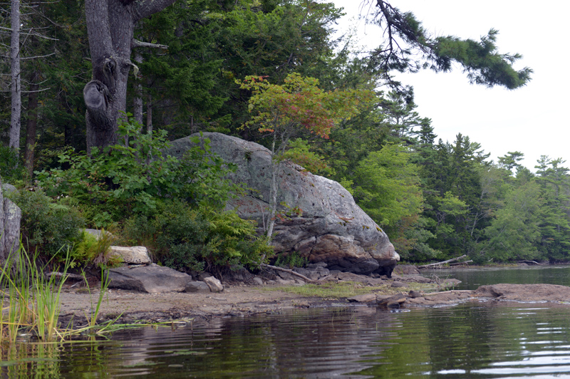 A large rock outcropping on the west shore of Knickerbocker Lake. (Paula Roberts photo)