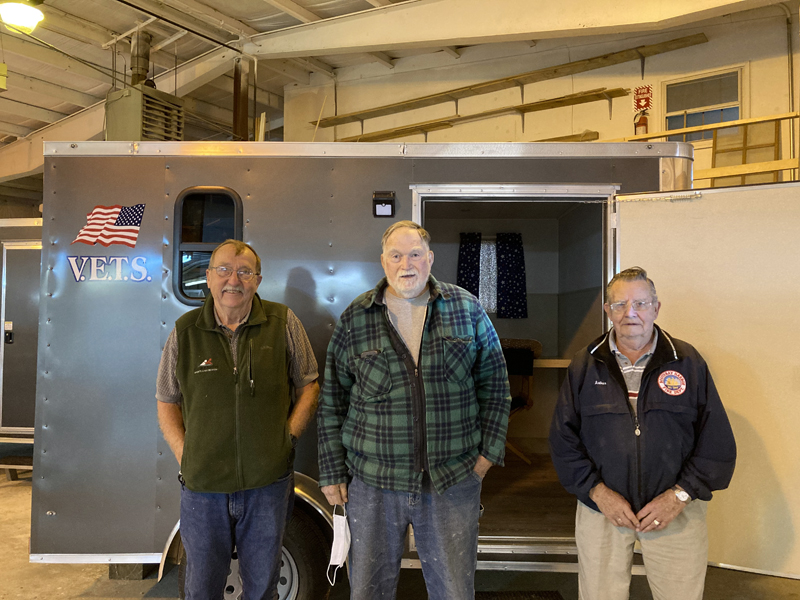 Leaders of the Veterans Emergency Temporary Shelter organization, from left: American Legion Post 36 Cmdr. David Patch, VETS President Ed Harmon, and VETS Vice President Arthur Richardson. (Hailey Bryant photo)