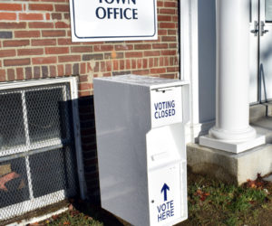 A new secure ballot box is in place at the Damariscotta town office. Voters can drop off their ballots anytime before the polls close on Election Day. (Evan Houk photo)
