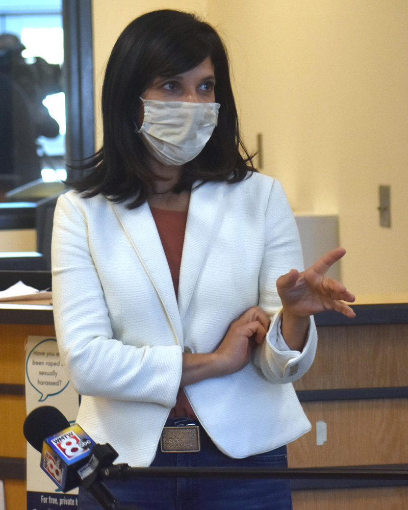 Sara Gideon, Democratic candidate for U.S. Senate, speaks about the medication-assisted treatment program at Two Bridges Regional Jail in Wiscasset on Monday, Oct. 5. (Alexander Violo photo)