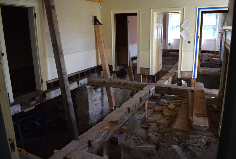 A view of the first floor of the Kavanagh House shows the extent of work to remove and replace some of the historic building's timber framing. (Evan Houk photo)