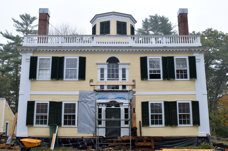 The front of the historic Kavanagh House in the Damariscotta Mills area of Newcastle, Tuesday, Oct. 13. New owners are restoring the 217-year-old Federal-style portion of the house and renovating and expanding an ell on the back of the building. (Evan Houk photo)
