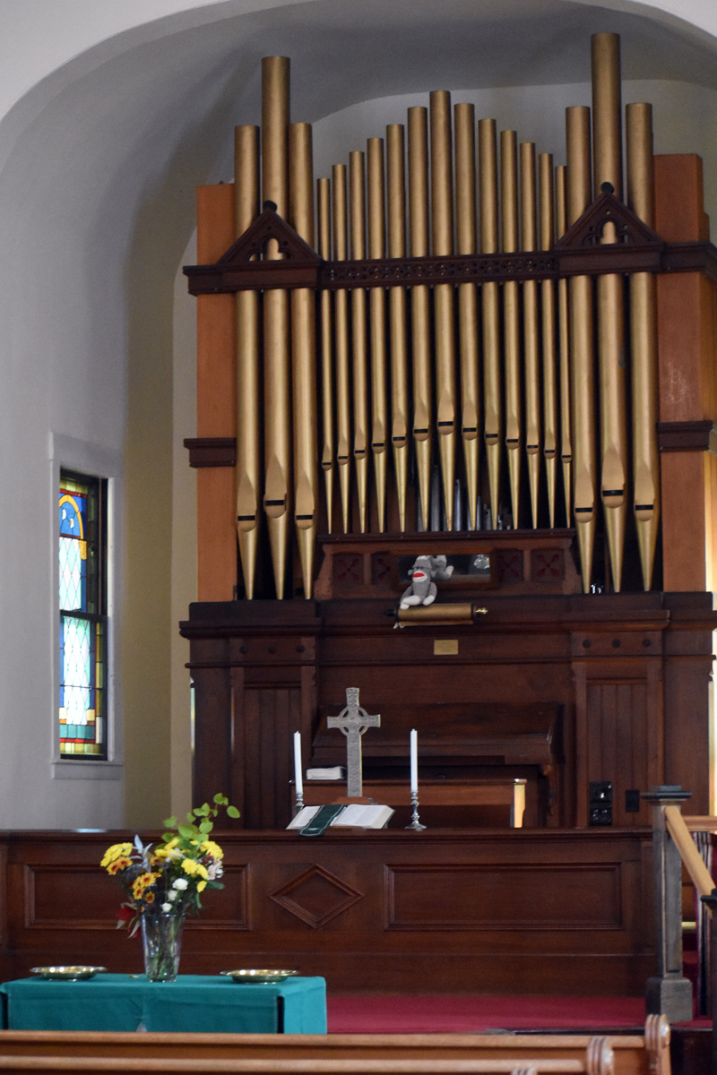 The historic organ at Broad Bay Church in Waldoboro. Though the organ itself was not part of recent renovations, the work did ensure the stability of the church's foundation, which will help to preserve the interior space. (Alexander Violo photo)