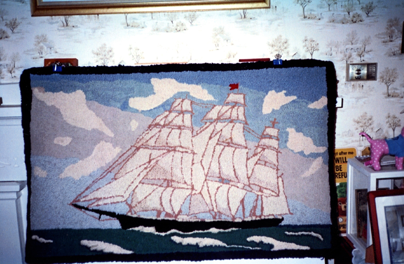 A beautiful, hand-hooked rug depicts a clipper ship. Ernest Morvin made the rug in 1947. (Photo courtesy Calvin Dodge)
