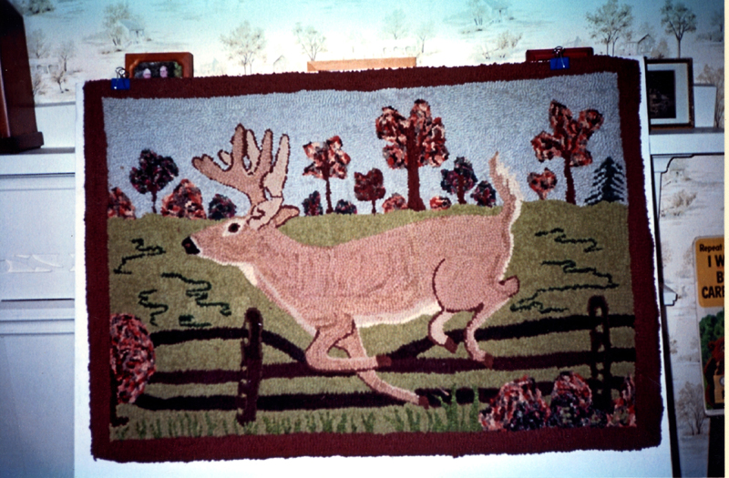 A beautiful hooked rug depicts a buck jumping over a fence. Ernest Morvin made the rug in 1947. (Photo courtesy Calvin Dodge)