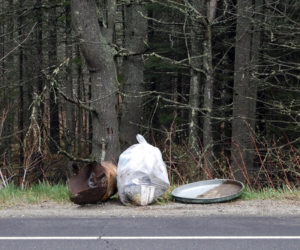 Trash collected along Bristol Road. The TarrNation Committee encourages Bristol residents to clean up the town's roads the week of Oct. 11-17.