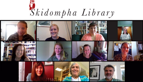 The Skidompha Library staff meets via Zoom to discuss ongoing virtual services, in-person browsing safety, and curbside pickup options.