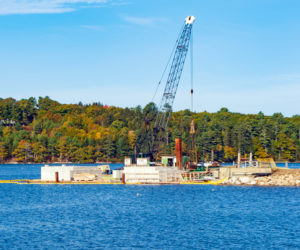Construction is underway at the waterfront facilities of UMaine's Darling Marine Center in Walpole.