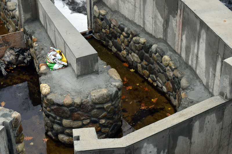 Natural Concepts Inc., of Bristol, is the masonry subcontractor for the natural stonework at the Bristol Mills fish ladder, part of phase one of the project. (Evan Houk photo)