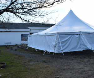 A tent was installed at Bristol Consolidated School to allow for more space for students. The school is currently seeing increasing enrollment numbers, according to BCS Principal Jennifer Ribeiro. (Evan Houk photo)