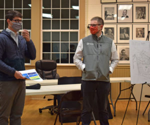 From left: Allen Tate, of EDF Renewables Distributed Solutions Inc., and Eben Baker, of Stantec, present a plan for an approximately 5-megawatt solar array on Christian Hill Road in Bristol during a public hearing at the town hall, Thursday, Nov. 5. (Evan Houk photo)