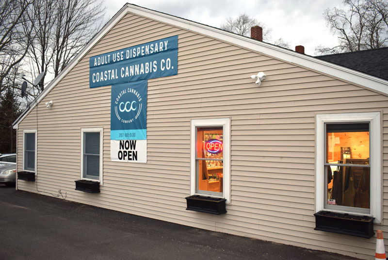 The exterior of Coastal Cannabis Co. LLC in Damariscotta, the first recreational cannabis shop to open in Lincoln County, on Monday, Nov. 16. The shop opened Nov. 9. (Evan Houk photo)