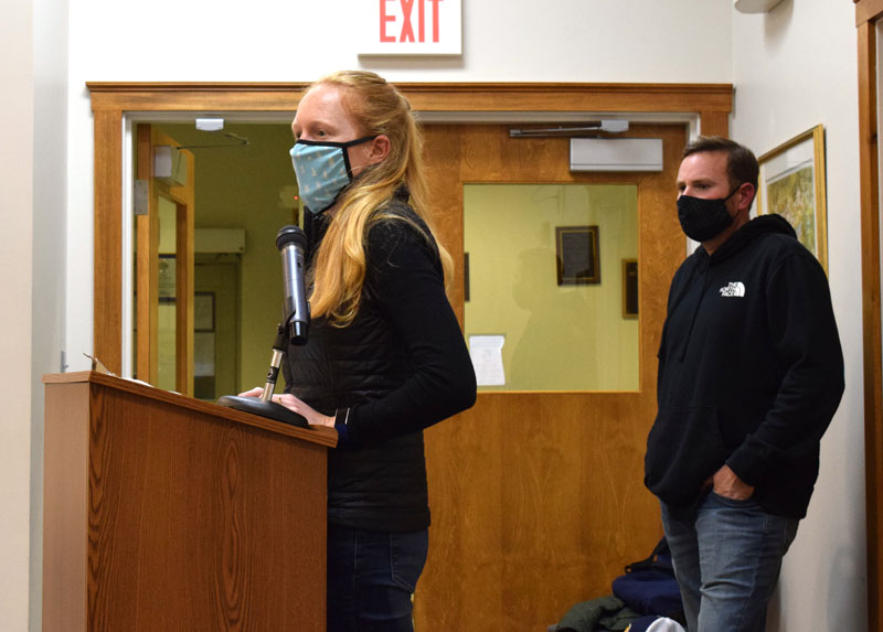 Allison Barbour and Dan Robinson, of ReVision Energy, address the Damariscotta Planning Board on Monday, Nov. 9. The contractor plans to install a 243.2-kilowatt solar array at Round Top Farm. (Evan Houk photo)