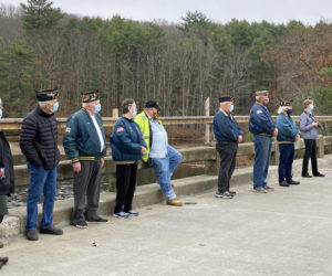State Rep. Allison Hepler (far left) stands with local veterans during a dedication ceremony on Veterans Memorial Bridge, over the Eastern River in Dresden, on Veterans Day. (Hailey Bryant photo)
