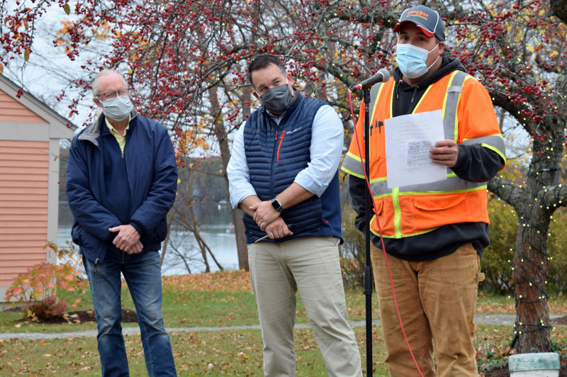 Newcastle Road Commissioner Seth Hagar addresses about 18 attendees during a ribbon-cutting ceremony for the reconstruction of Academy Hill Road on Thursday, Oct. 29, as Selectman Rob Nelson and Town Manager Jon Duke look on. (Evan Houk photo)