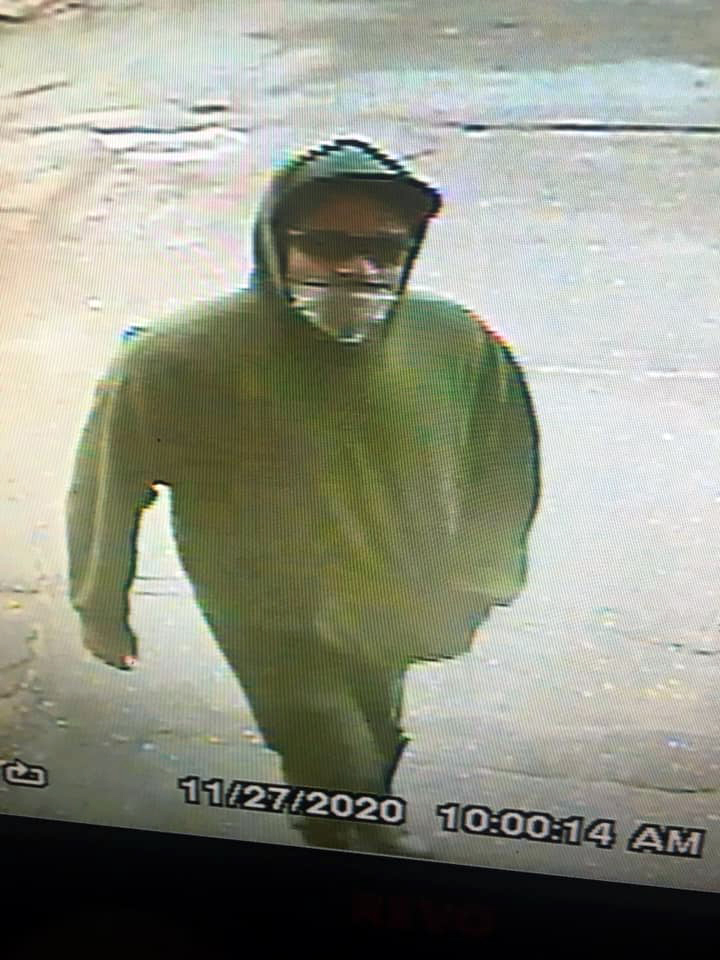 A surveillance image shows a suspect in an armed robbery at Maxwell's Market & Deli in Wiscasset on Friday, Nov. 27.