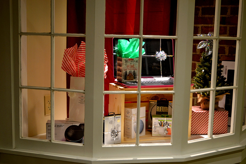 The new computer repair and sales store, Salt Bay Computer, located in the Damariscotta Center Building, showcases a holiday display.