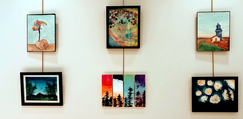 A display of artwork by Mobius client-artists at the CLC YMCA.
