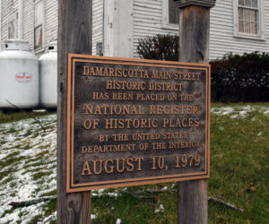A sign marks the Main Street historic district in downtown Damariscotta, which is on the National Register of Historic Places. A new historic preservation ordinance seeks to preserve the character of the district. (Evan Houk photo)