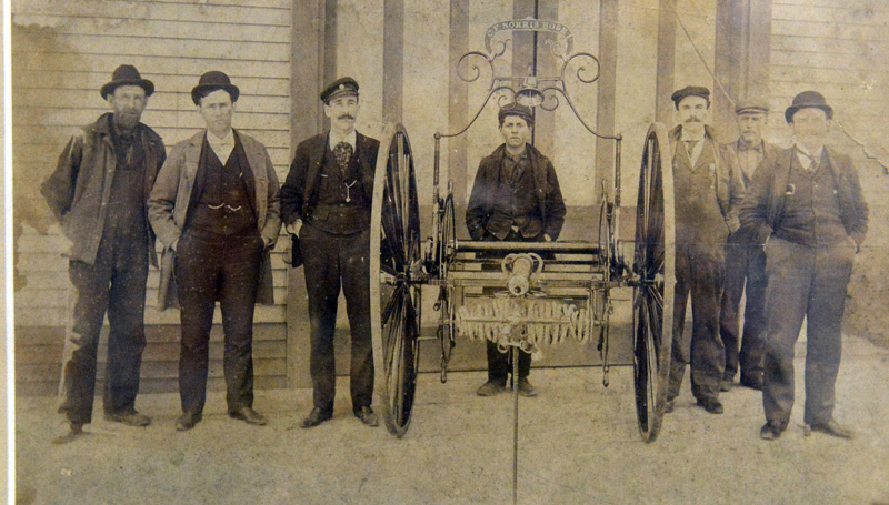 Massasoit Fire Co. members with the C.F. Norris hose reel in April 1899. The hose reel was named for Charles F. Norris, the company's second foreman.
