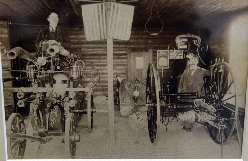 This April 1899 photo shows Damariscotta's first pumper, the Massasoit hand tub and the C. F. Norris hose reel.