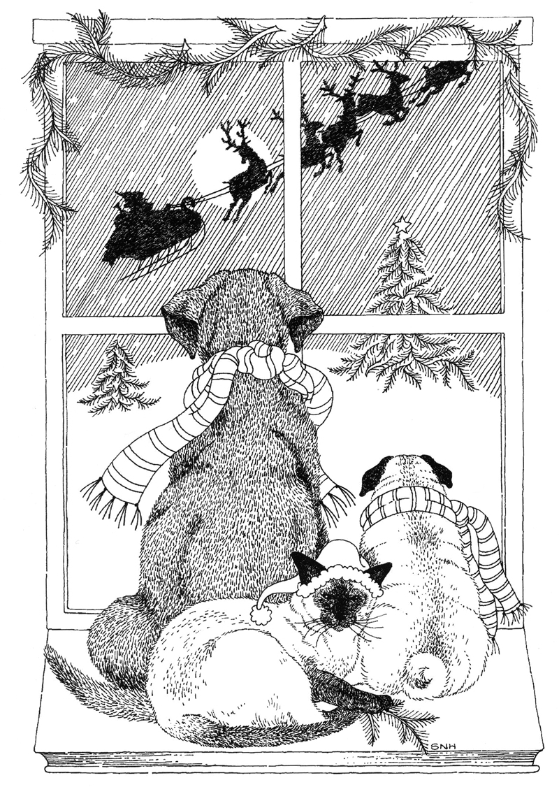 """A trio of pets watches Santa Claus make his rounds in a pen-and-ink illustration from Sally Hough's self-published book """"Beasts."""" (Image courtesy Sally Hough)"""