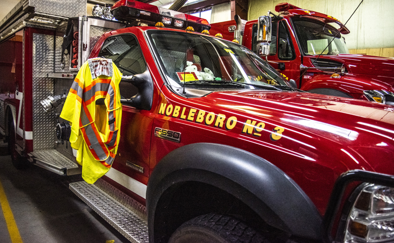 Fire trucks gleam in the garage at the Nobleboro Fire Department on Tuesday, Dec. 8. (Bisi Cameron Yee photo)