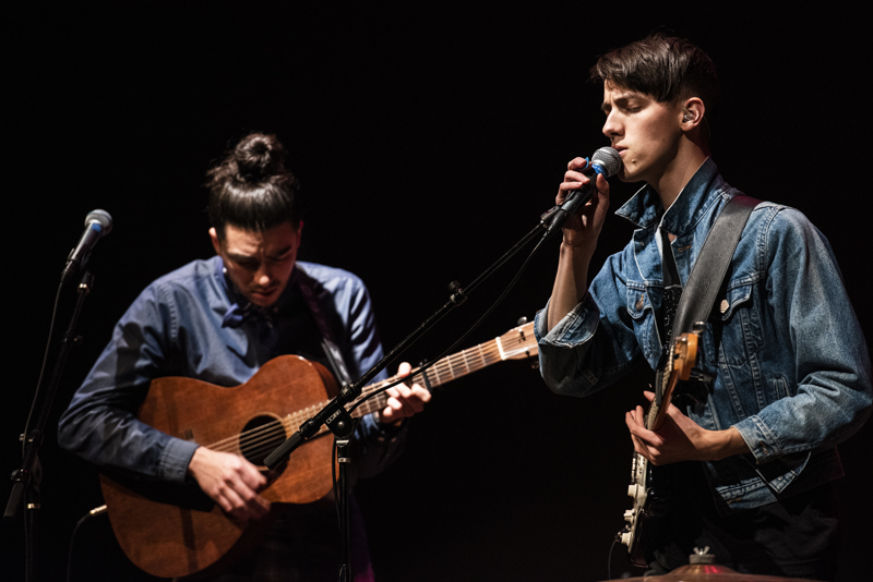 Brothers Jamie (right) and Sean Oshima perform during a livestream concert from the Waldo Theatre in Waldoboro on Thursday, Dec. 3. A portion of the proceeds from the concert will help fund the Waldo's restoration. (Bisi Cameron Yee photo)