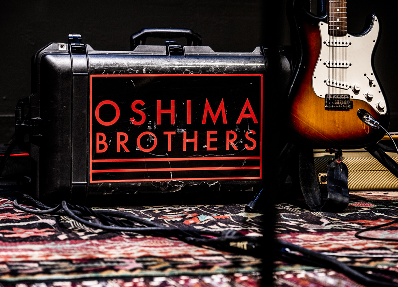 Instruments and gear wait for the Oshima Brothers to take the stage at the Waldo Theatre in Waldoboro on Thursday, Dec. 3. The Oshima Brothers grew up in Whitefield. (Bisi Cameron Yee photo)