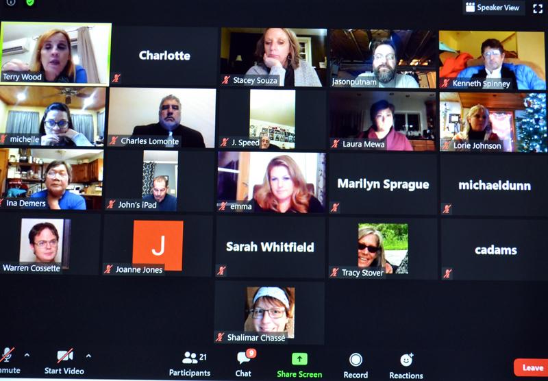 The Wiscasset School Committee meets via Zoom on Tuesday, Dec. 8. (Charlotte Boynton photo)