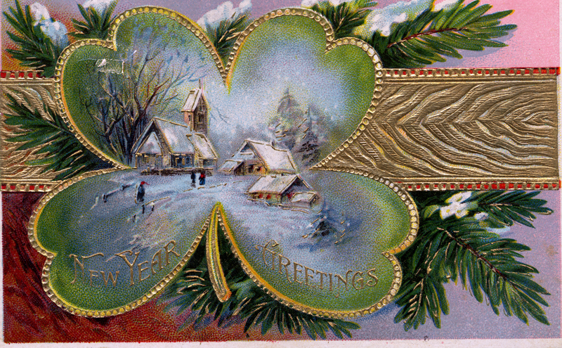 A vintage postcard bears new year greetings. (Postcard courtesy Marjorie and Calvin Dodge collection)