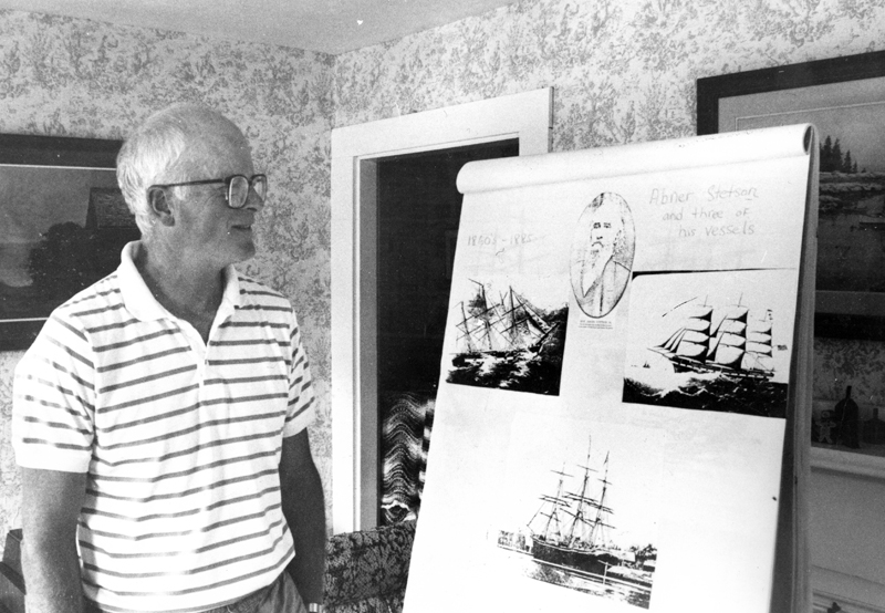 """Mark Biscoe gives a presentation on one of his favorite subjects, shipbuilding, in an undated photo from The Lincoln County News archives. Biscoe wrote his """"Waldoboro Wanderings"""" column for nearly 22 years."""