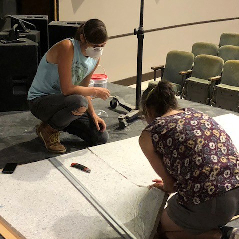 Waldo Theatre volunteers Cat and Brynna Skov cut acoustic panels. The Maine Community Foundation Southern Midcoast Committee awarded grants to 16 nonprofits this year, including the Waldo Theatre. (Photo courtesy Waldo Theatre)