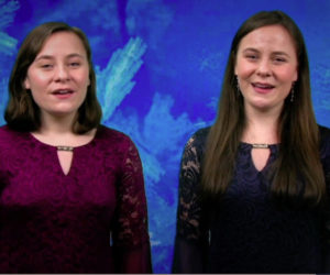 """Katherine (left) and Kayleigh Tolley sing """"The First Noel/Pachelbel's Canon"""" in """"A Heartwood Christmas Letter,"""" available at heartwoodtheater.org from Dec. 11 through Jan. 3."""