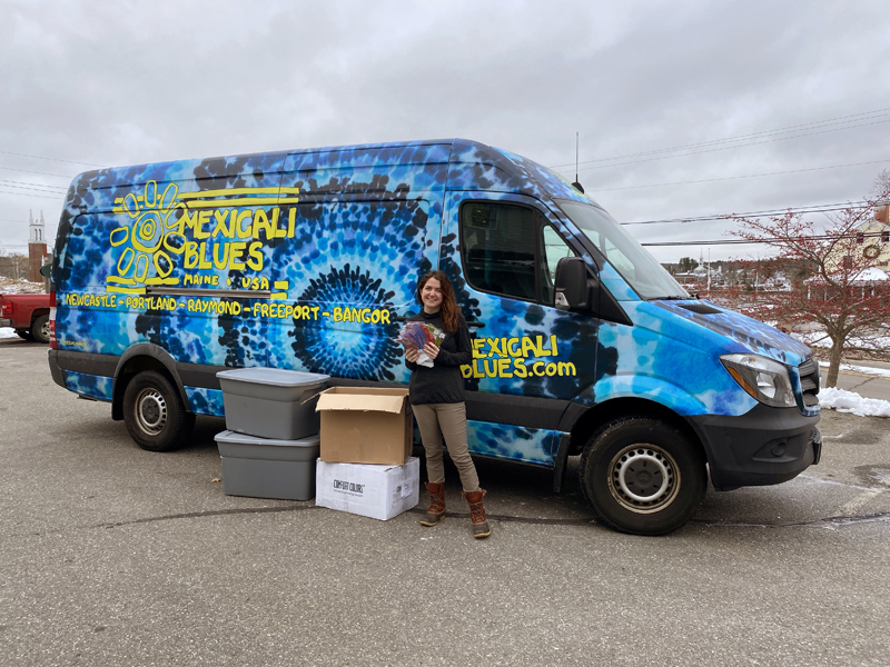 Mexicali Blues Marketing Manager Chelsey Chambers heads out to distribute masks. The Newcastle-based retailer distributed more than 5,000 child-sized face masks to schools in the communities where it has stores.