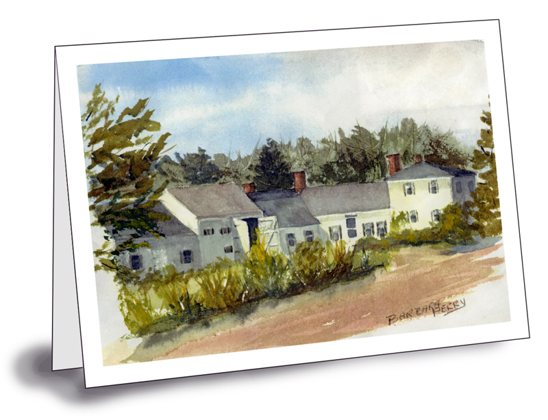 A notecard with a painting of the Squire Tarbox Inn by the late Barbara Cleaves Perry, a longtime summer resident. The notecard and seven others are available for sale to benefit the Friends of Westport Island History.