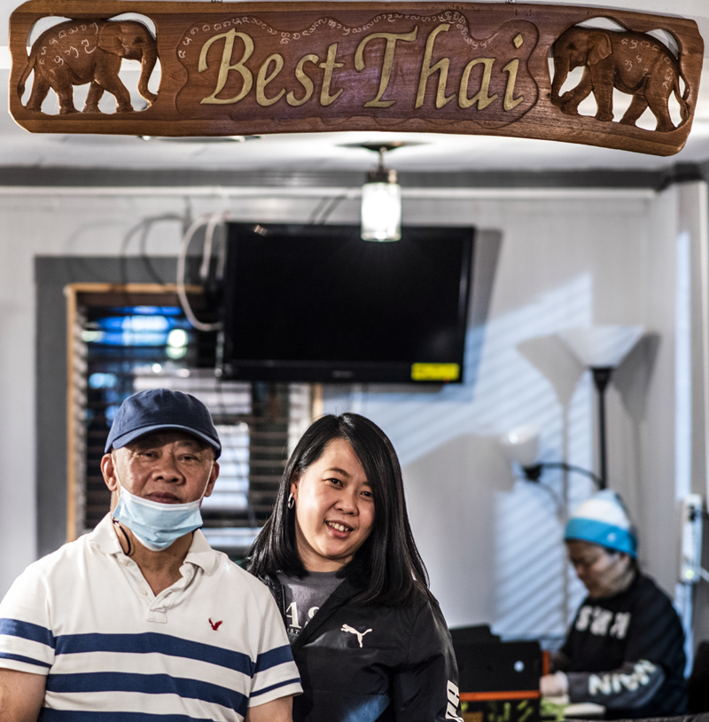 Chanint Hanjitsuwan and daughter  Thanyalak Rojpanichkul pose for a photo at Best Thai in Damariscotta on Thursday, Jan. 14. The restaurant will soon move to its new location next door after 10 years in its current space. (Bisi Cameron Yee photo)