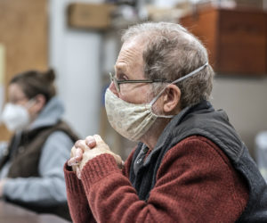 Nobleboro resident George Mason waits to address the board of selectmen Wednesday, Jan. 13. Mason attended the meeting to discuss the lack of restroom facilities at the swimming hole in Damariscotta Mills. (Bisi Cameron Yee photo)